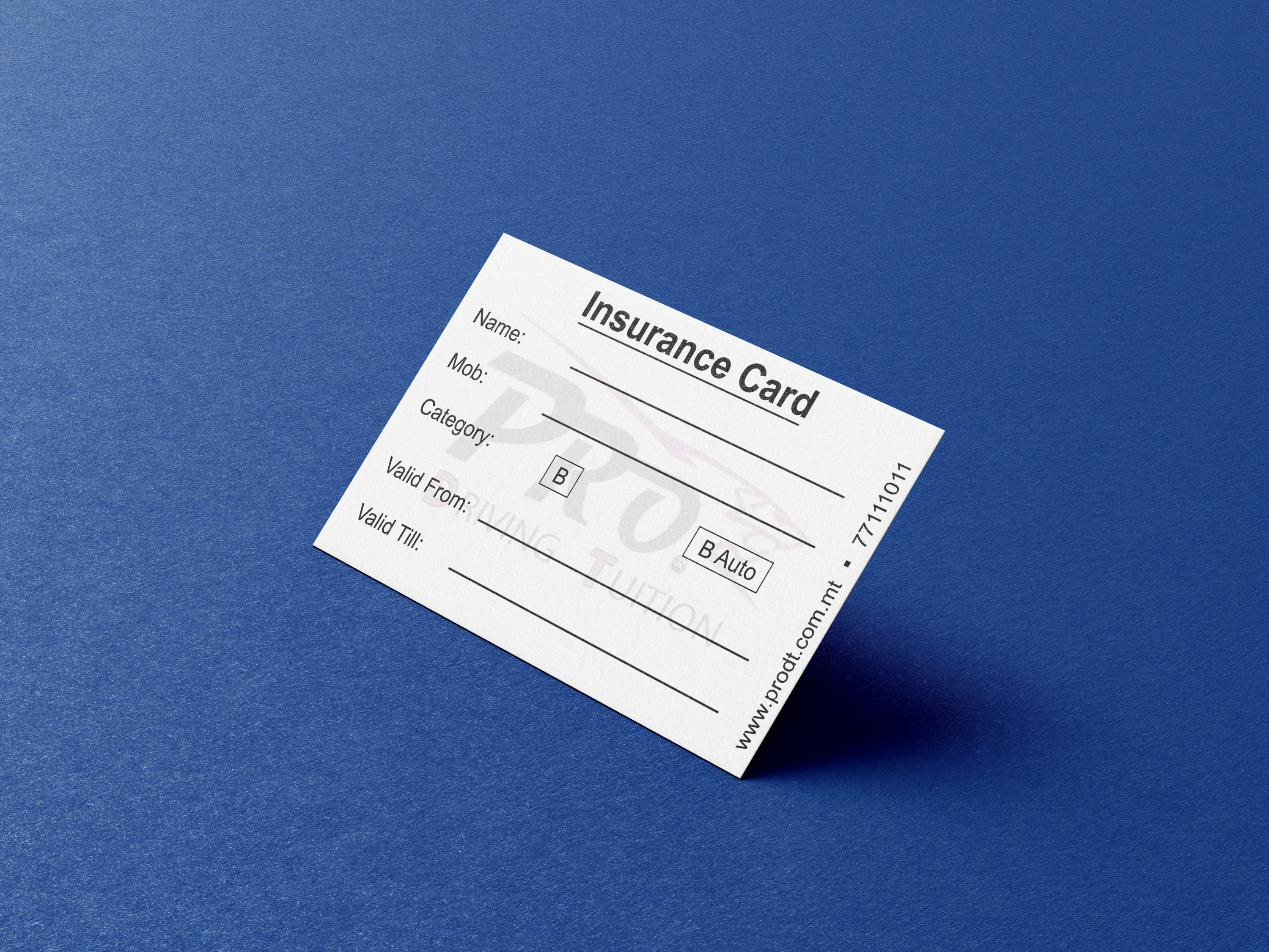 Pro Driving Tuition Insurance Card Display